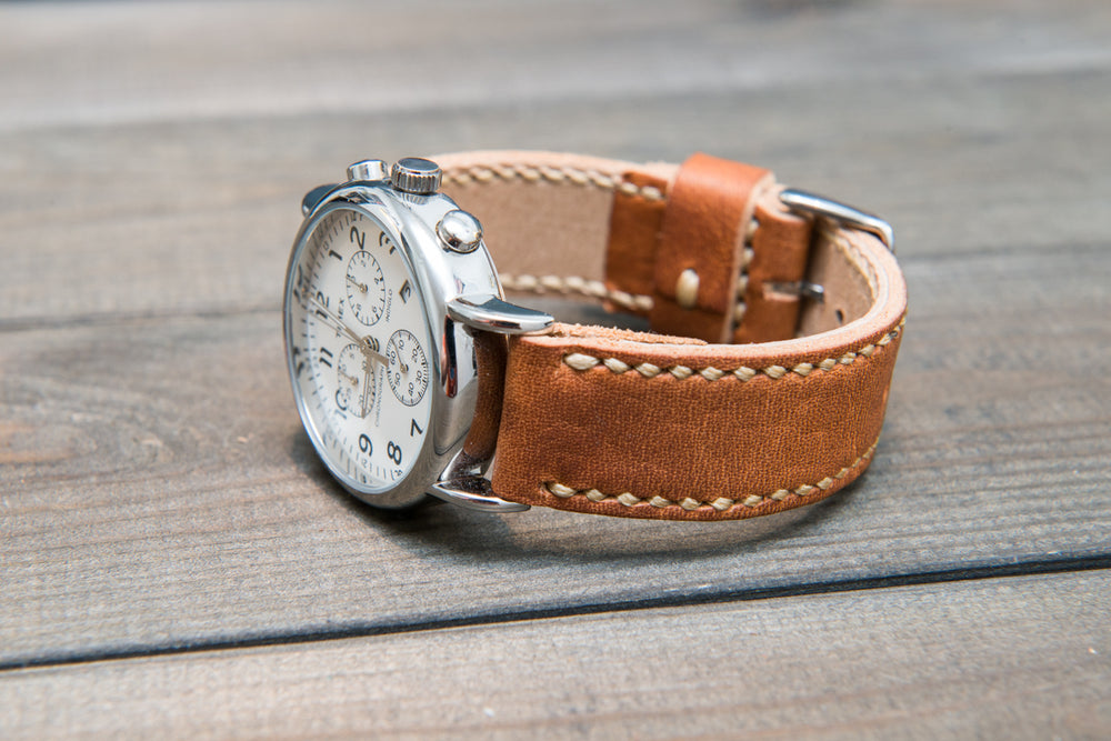 Derby English Tan leather watch strap, hand stitched,  handmade in Finland - 18mm, 19 mm, 20mm, 21 mm, 22mm, 23 mm, 24mm, 25 mm, 26 mm. - finwatchstraps
