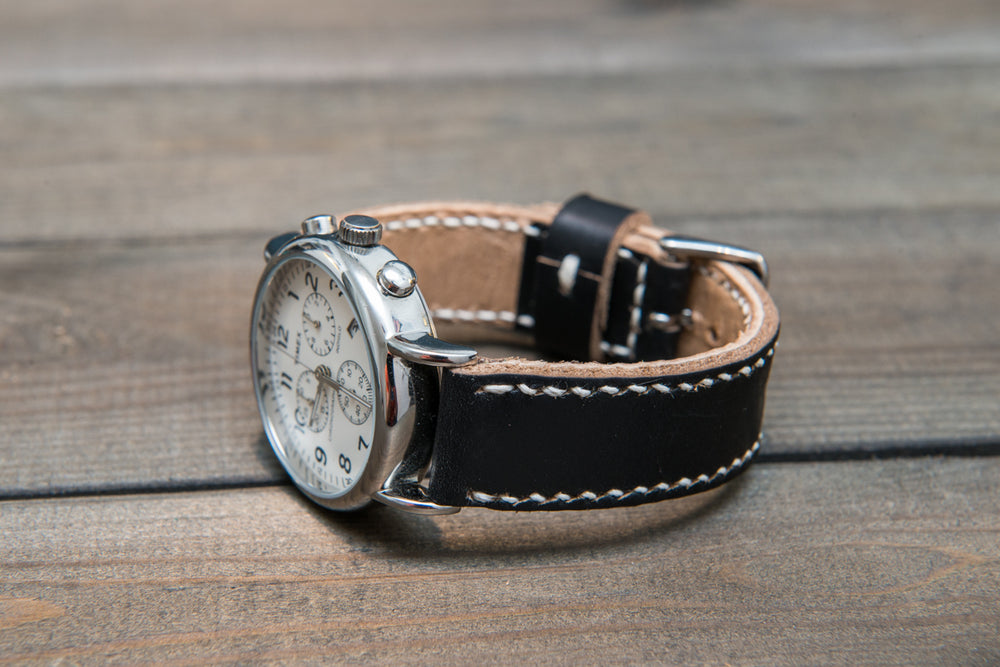 Panerai  leather watch band, Horween Black Chromexcel leather watch strap, hand stitched,  handmade in Finland - 18mm, 19 mm, 20mm, 21 mm, 22mm, 23 mm, 24mm, 25 mm, 26 mm. - finwatchstraps