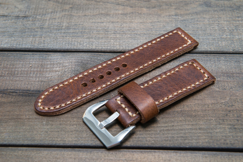 Panerai  leather watch band, Horween Derby Nut Brown leather watch strap, hand stitched,  handmade in Finland - 18mm, 19 mm, 20mm, 21 mm, 22mm, 23 mm, 24mm, 25 mm, 26 mm.