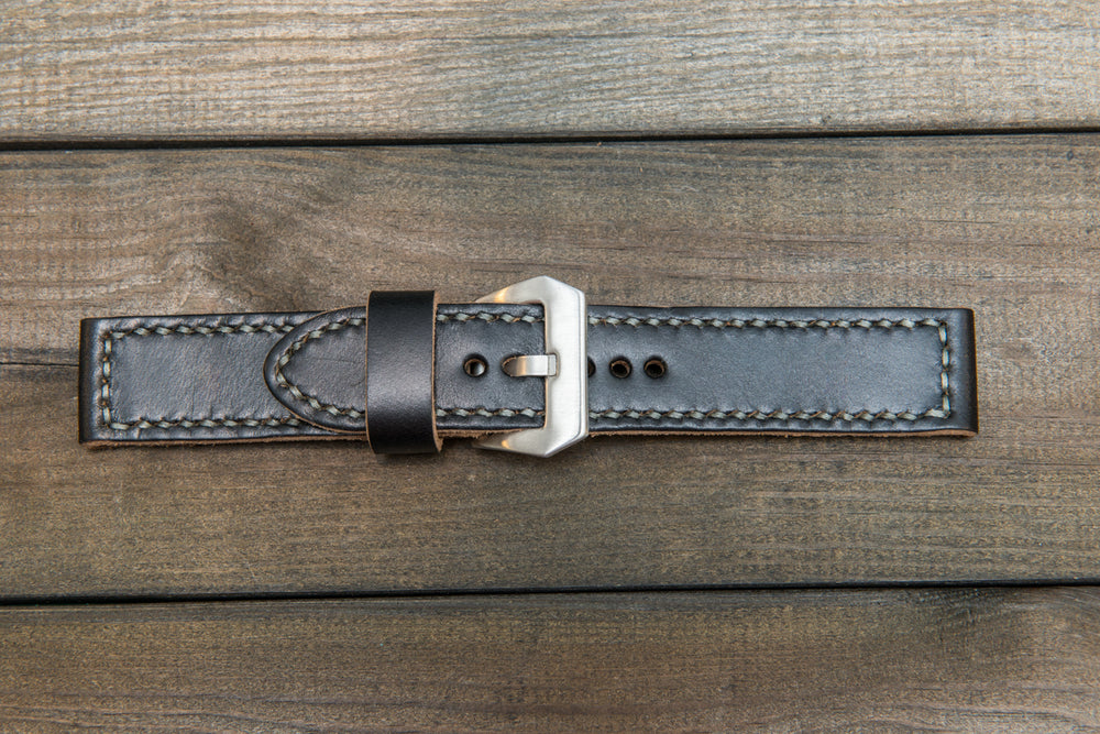Panerai watch band, Horween Navy Blue Chromexcel leather watch strap, hand stitched,  handmade in Finland - 18mm, 19 mm, 20mm, 21 mm, 22mm, 23 mm, 24mm, 25 mm, 26 mm. - finwatchstraps