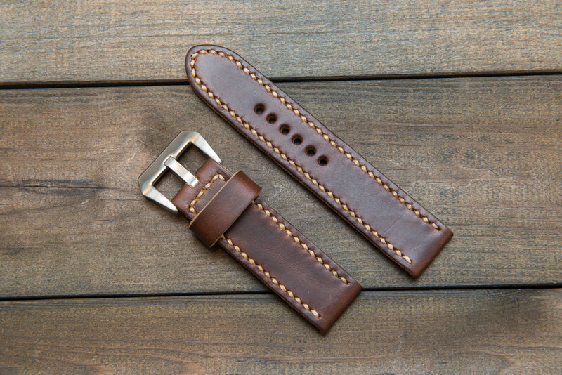 Panerai watch band, Horween Dark Brown Chromexcel leather watch strap, hand stitched,  handmade in Finland - 18mm, 19 mm, 20mm, 21 mm, 22mm, 23 mm, 24mm, 25 mm, 26 mm.