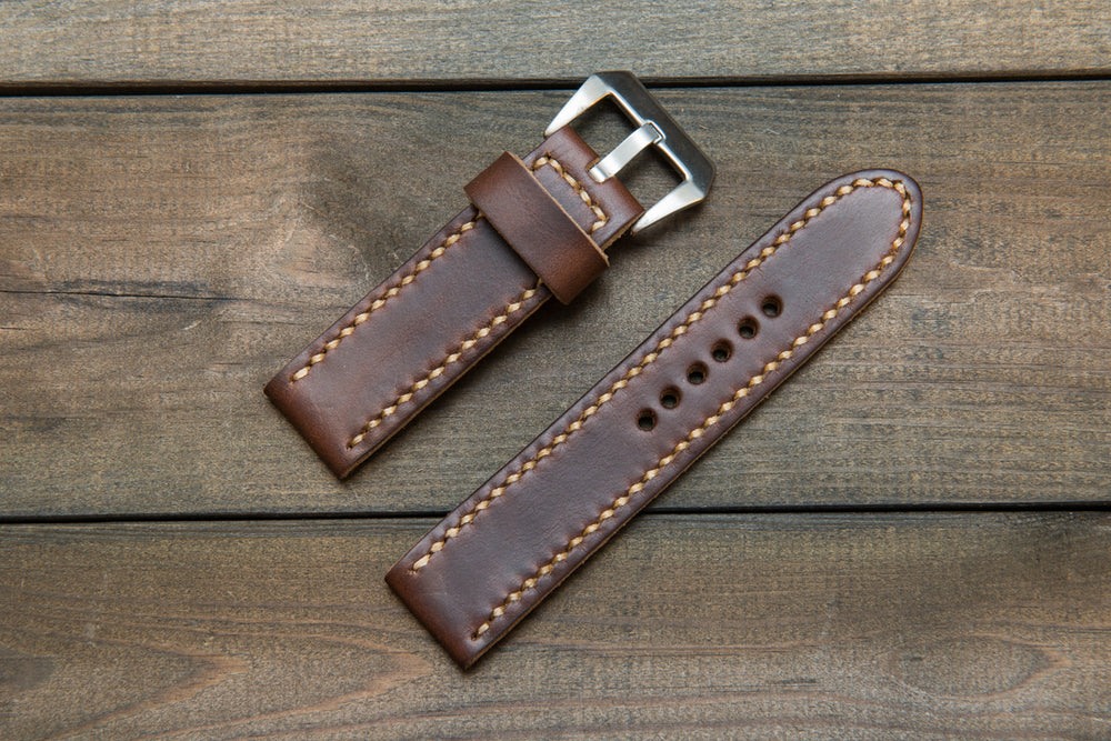 Panerai watch band, Horween Dark Brown Chromexcel leather watch strap, hand stitched,  handmade in Finland - 18mm, 19 mm, 20mm, 21 mm, 22mm, 23 mm, 24mm, 25 mm, 26 mm. - finwatchstraps