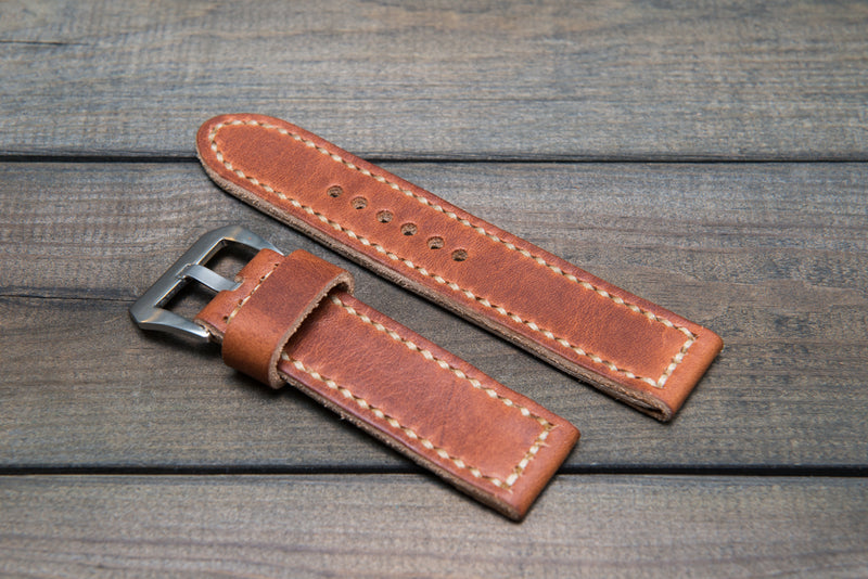 Panerai watch band, Dublin Cognac leather watch strap, handmade in Finland - 18mm, 19 mm, 20mm, 21 mm, 22mm, 23 mm, 24mm, 25 mm, 26 mm.