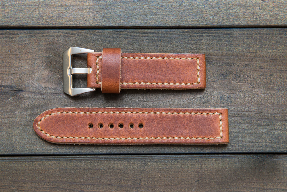 Panerai watch band, Dublin Cognac leather watch strap, handmade in Finland - 18mm, 19 mm, 20mm, 21 mm, 22mm, 23 mm, 24mm, 25 mm, 26 mm. - finwatchstraps