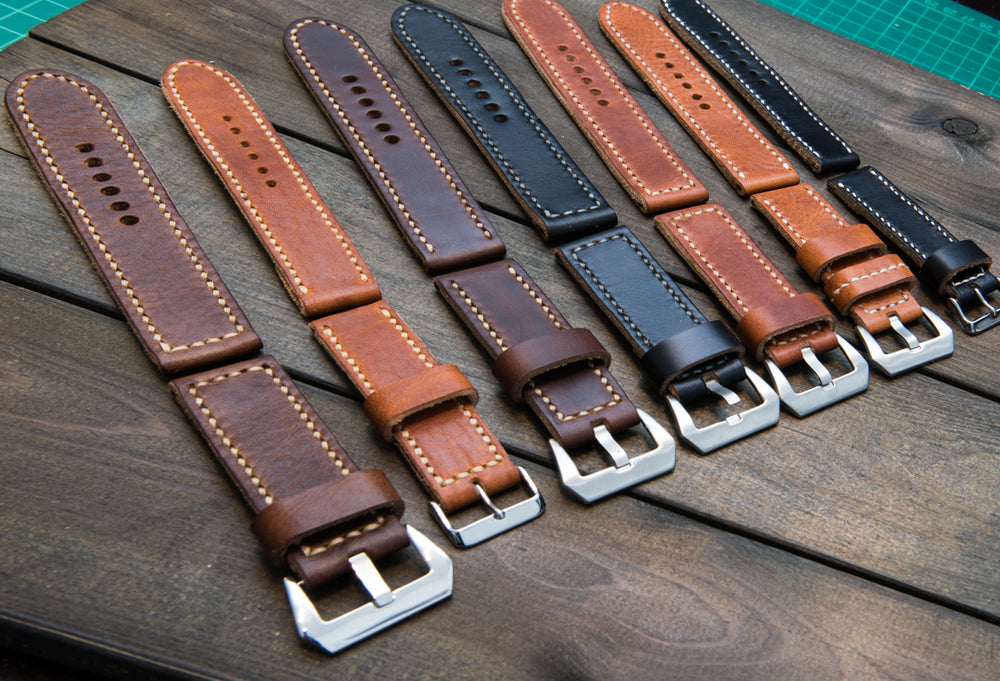 Panerai  leather watch band, Horween Derby Nut Brown leather watch strap, hand stitched,  handmade in Finland - 18mm, 19 mm, 20mm, 21 mm, 22mm, 23 mm, 24mm, 25 mm, 26 mm. - finwatchstraps