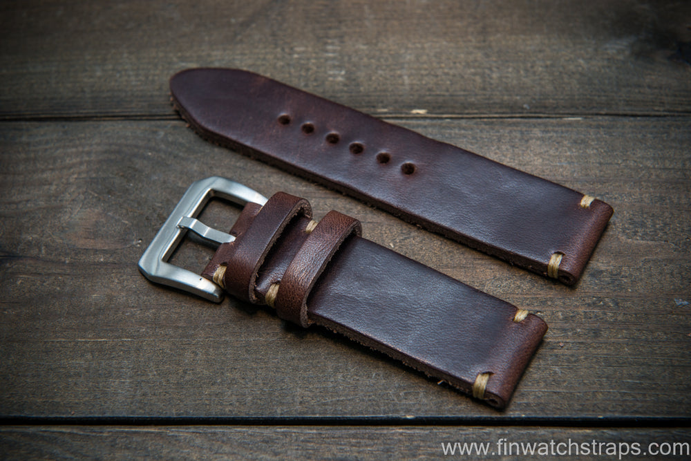 Italian Oregano leather watch strap(3,5-4 mm), Castagna color, handmade in Finland