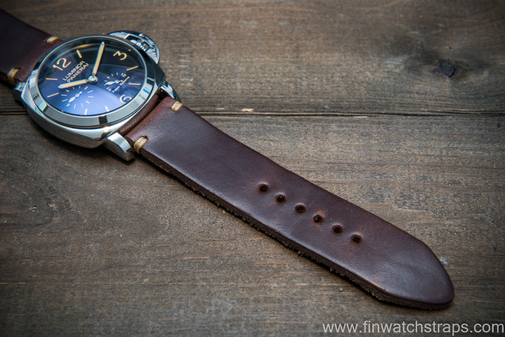 Italian Oregano leather watch strap(4-5 mm), Castagna color, handmade in Finland - finwatchstraps