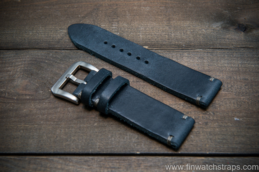 Italian Navy Oregano leather watch strap(4-5 mm), Navy color, handmade in Finland - finwatchstraps