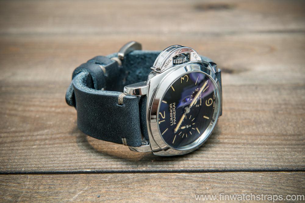 Italian Navy Oregano leather watch strap(4-5 mm), Navy color, handmade in Finland