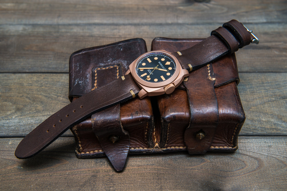 Vintage Ammo Watch band, thickness 2,2mm - 2,6mm, made from ammo pouch, dates back to 1950th-1960th