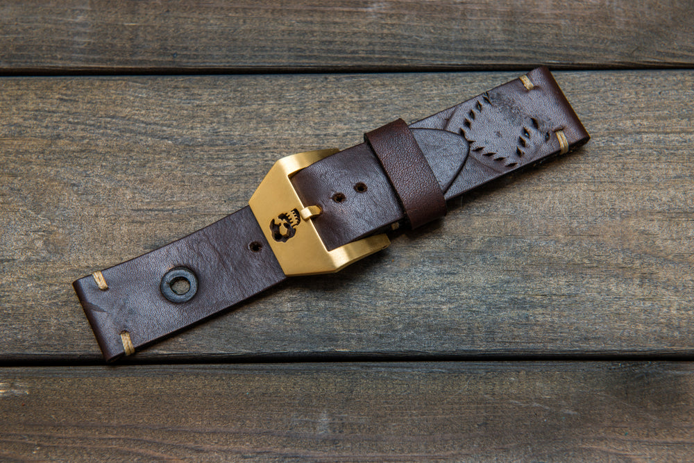 Vintage Ammo Watch band with Panerai buckle, thickness 2,2mm - 2,6mm, made from ammo pouch, dates back to 1950th-1960th