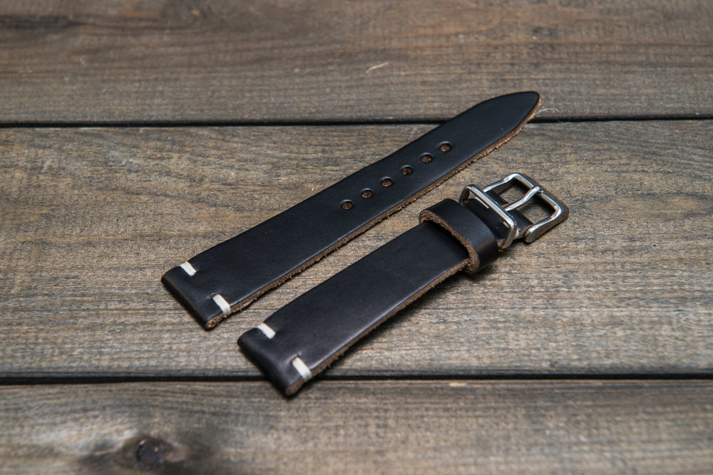 Black leather watch band, handmade in Finland. Tapered size: 26/22mm, 25/22 mm, 24/20mm, 23/20 mm, 22/18 mm, 21/18 mm, 20/16 mm, 19/16 mm