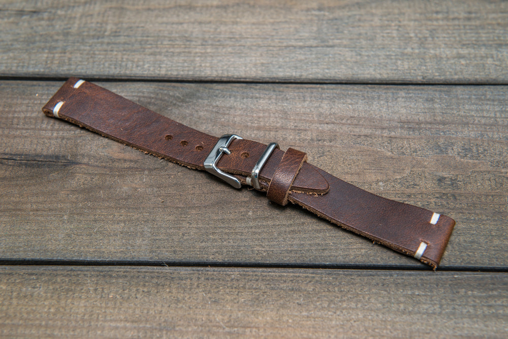 Derby Nut brown leather watch band, handmade in Finland. Tapered size: 26/22mm, 25/22 mm, 24/20mm, 23/20 mm, 22/18 mm, 21/18 mm, 20/16 mm, 19/16 mm - finwatchstraps