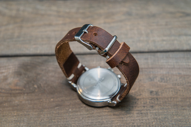 Derby Nut brown leather watch band, handmade in Finland. Tapered size: 26/22mm, 25/22 mm, 24/20mm, 23/20 mm, 22/18 mm, 21/18 mm, 20/16 mm, 19/16 mm