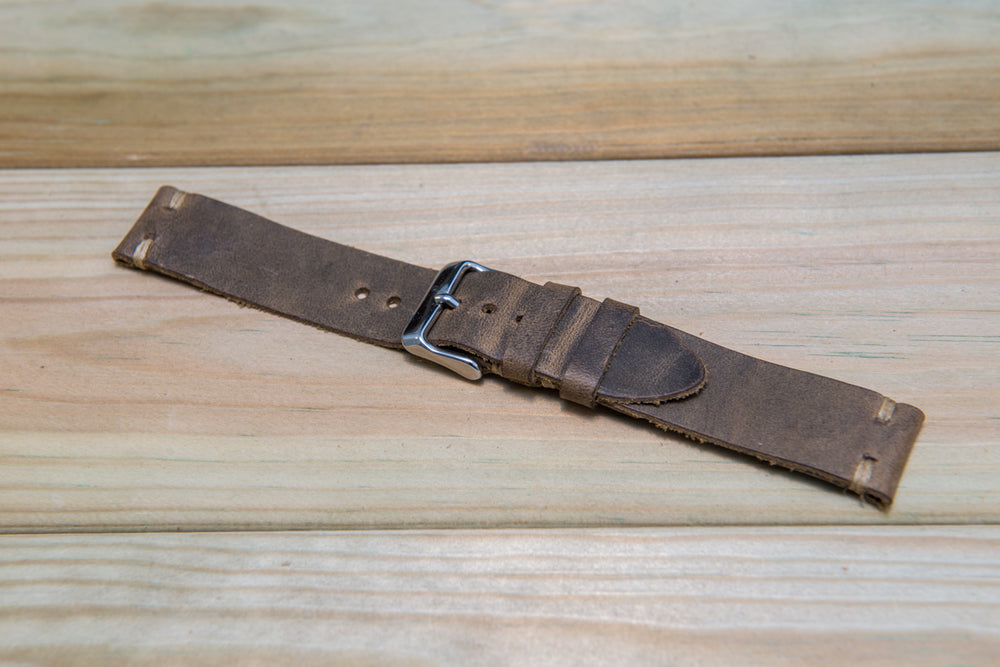 Olive-military leather watch strap, handmade in Finland - 16mm, 17 mm, 18mm, 19 mm, 20mm, 21 mm, 22mm, 23 mm, 24mm, 25 mm, 26mm. - finwatchstraps