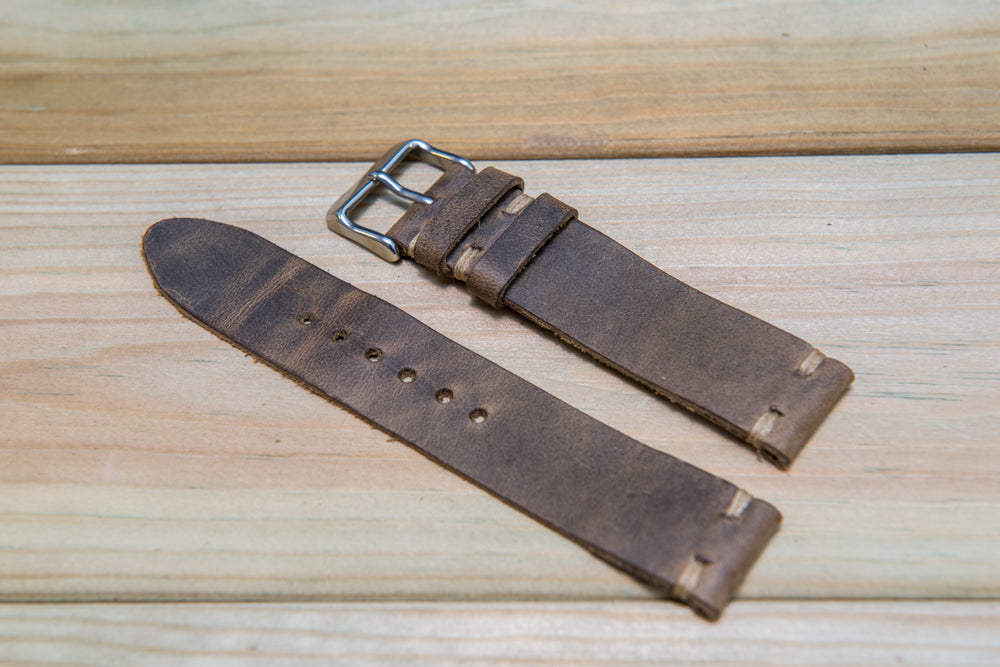 Olive-military leather watch strap, handmade in Finland - 16mm, 17 mm, 18mm, 19 mm, 20mm, 21 mm, 22mm, 23 mm, 24mm, 25 mm, 26mm.