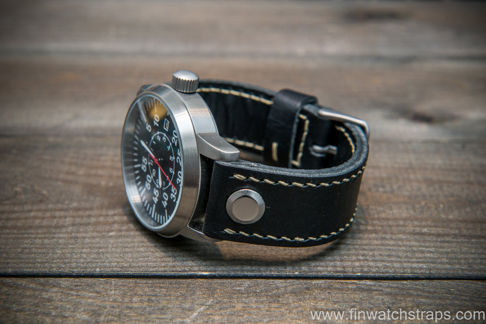 Open end leather watch strap, Black color. Handmade in Finland. - finwatchstraps