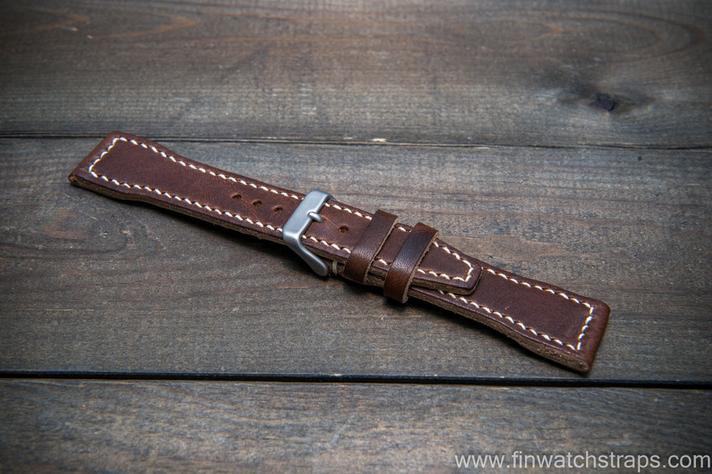 Pilot Leather Watch Strap, Aviator model, Military style stitched tapered model - finwatchstraps