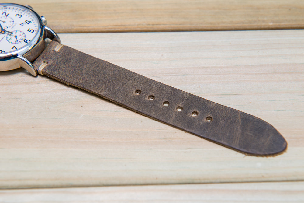 Olive-military leather watch strap, handmade in Finland - finwatchstraps