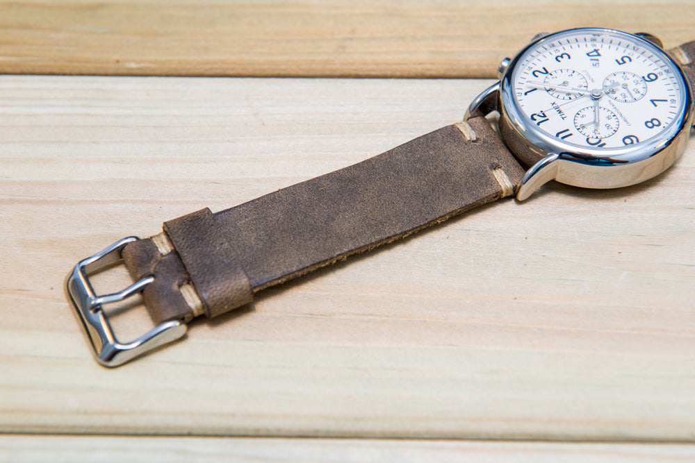 Olive-military leather watch strap, handmade in Finland