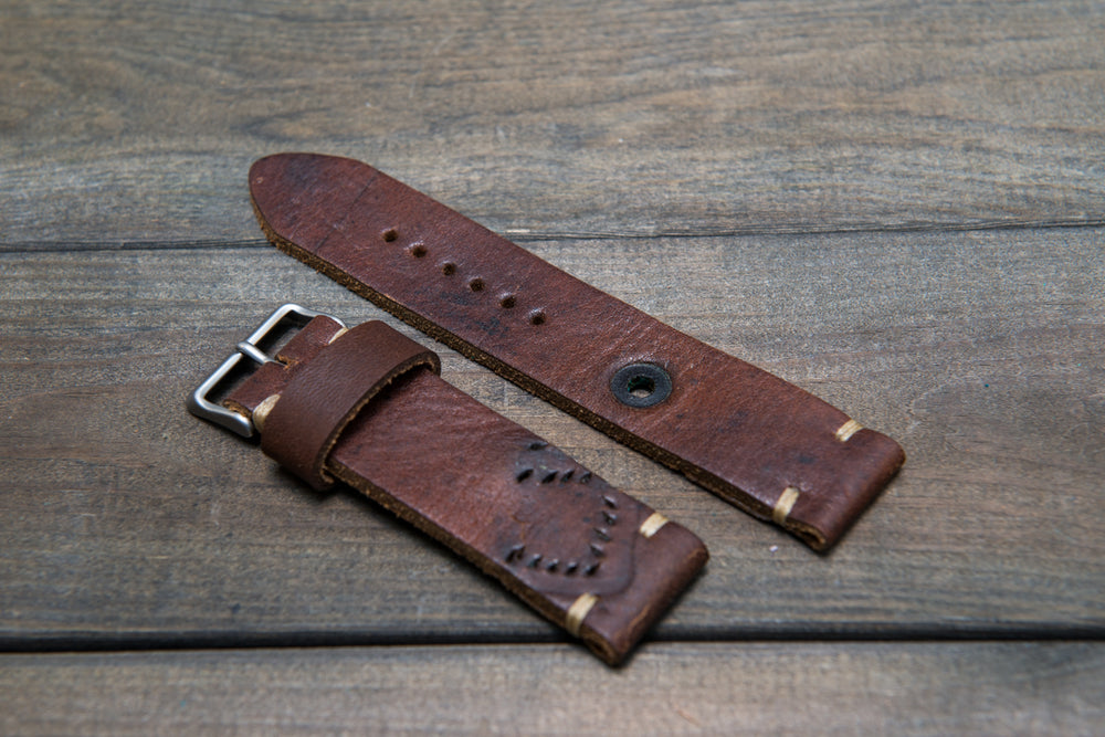 Vintage Ammo Watch band, thickness 2,2mm - 4 mm, 24 mm: 135-85 mm,  made from ammo pouch dates back to 1950th-1960th - finwatchstraps