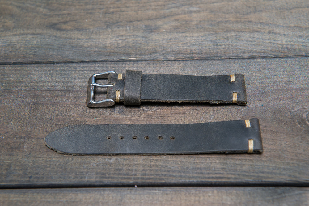 Military grey leather watch strap, handmade in Finland - 16mm, 17 mm, 18mm, 19 mm, 20mm, 21 mm, 22mm, 23 mm, 24mm, 25 mm, 26mm. - finwatchstraps