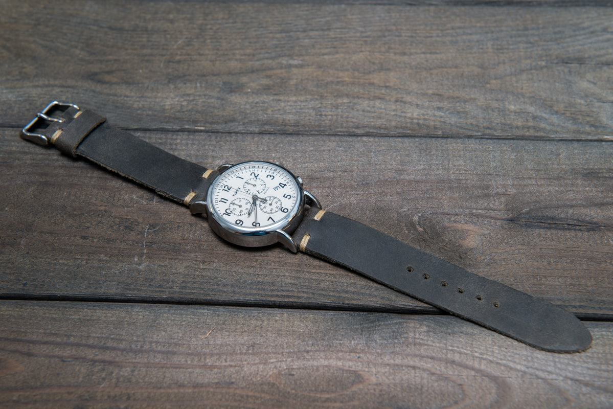 Military grey leather watch strap, handmade in Finland - finwatchstraps