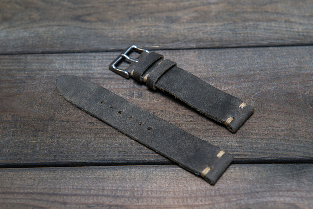 Military grey leather watch strap, handmade in Finland - 10 mm, 12 mm, 14 mm, 16mm, 17 mm, 18mm, 19 mm, 20mm, 21 mm, 22mm, 23 mm, 24mm, 25 mm, 26mm. - finwatchstraps