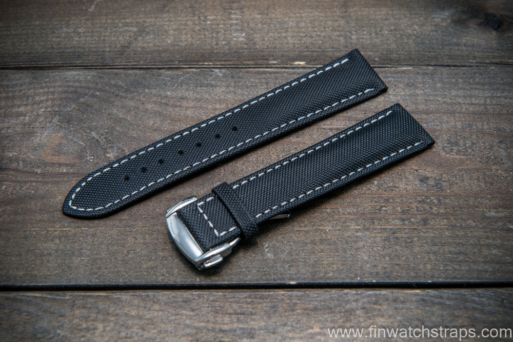 Omega watch strap, canvas with leather lining 20x18 mm - finwatchstraps