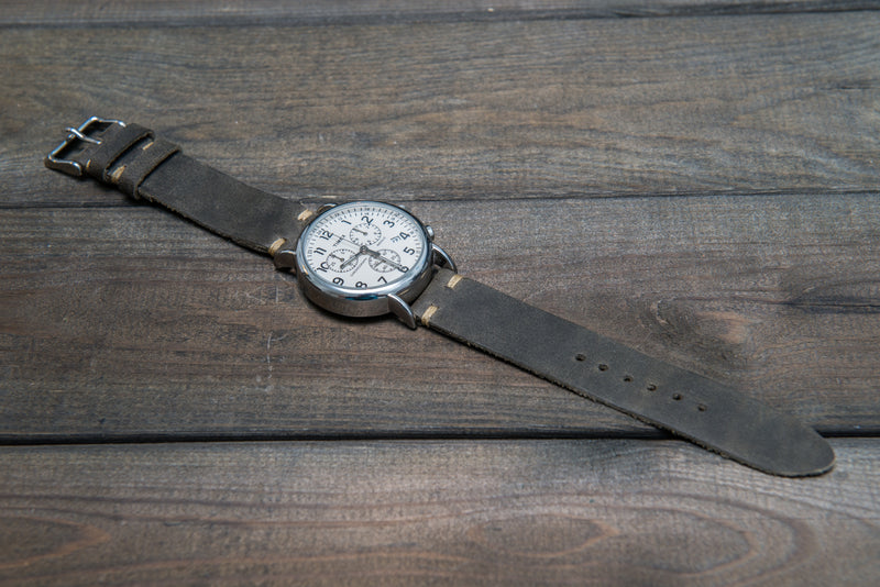 Military grey leather watch strap, handmade in Finland - 10 mm, 12 mm, 14 mm, 16mm, 17 mm, 18mm, 19 mm, 20mm, 21 mm, 22mm, 23 mm, 24mm, 25 mm, 26mm.