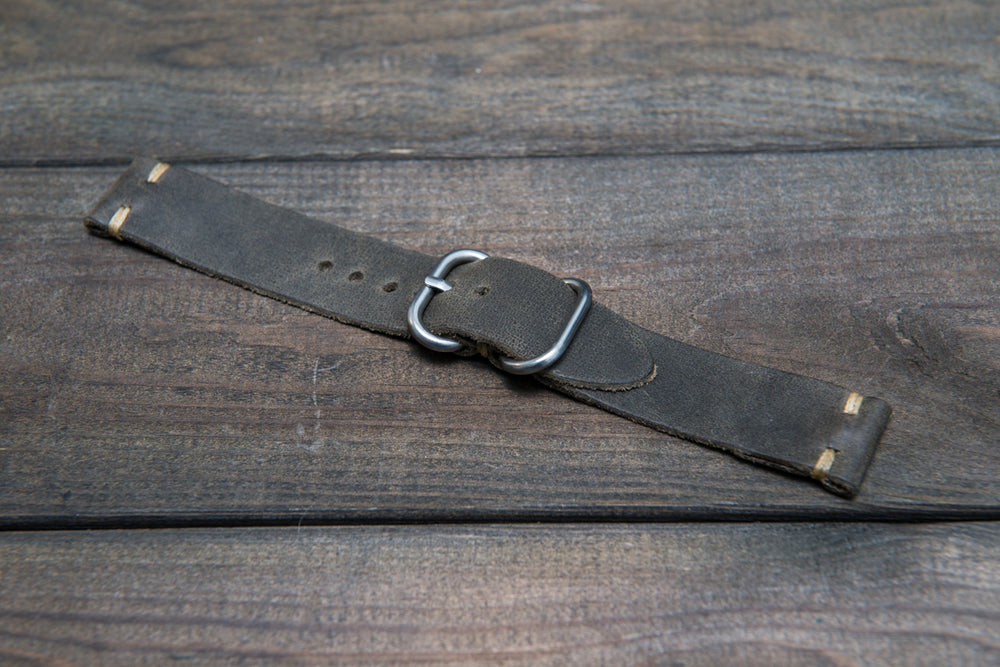 Military grey leather watch strap, handmade in Finland - 16mm, 17 mm, 18mm, 19 mm, 20mm, 21 mm, 22mm, 23 mm, 24mm, 25 mm, 26mm.
