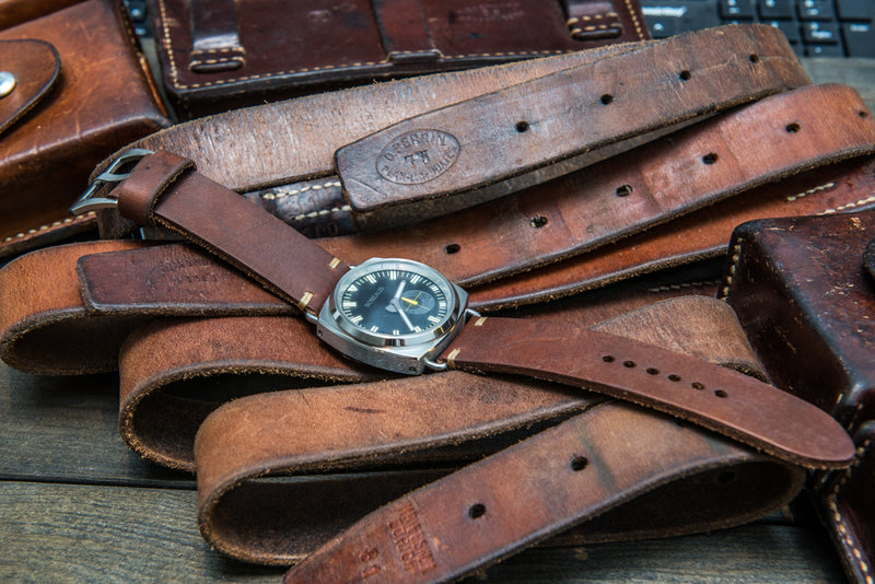 Vintage Swiss ammo watch band, thickness 4 mm, made of army belts,  dates back to 1970th-1980th - finwatchstraps
