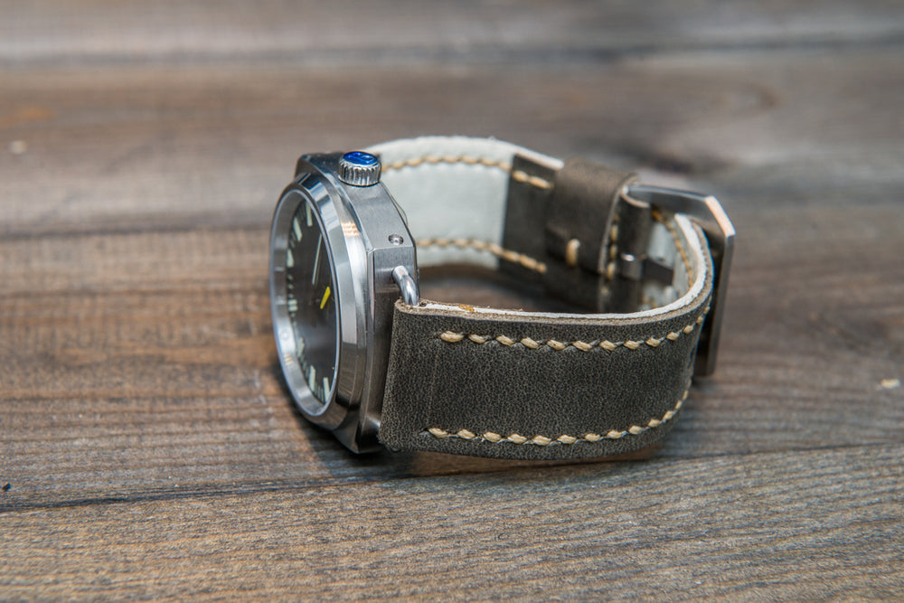 Military grey leather watch strap, hand stitched,  handmade in Finland - 18mm, 19 mm, 20mm, 21 mm, 22mm, 23 mm, 24mm, 25 mm, 26 mm.