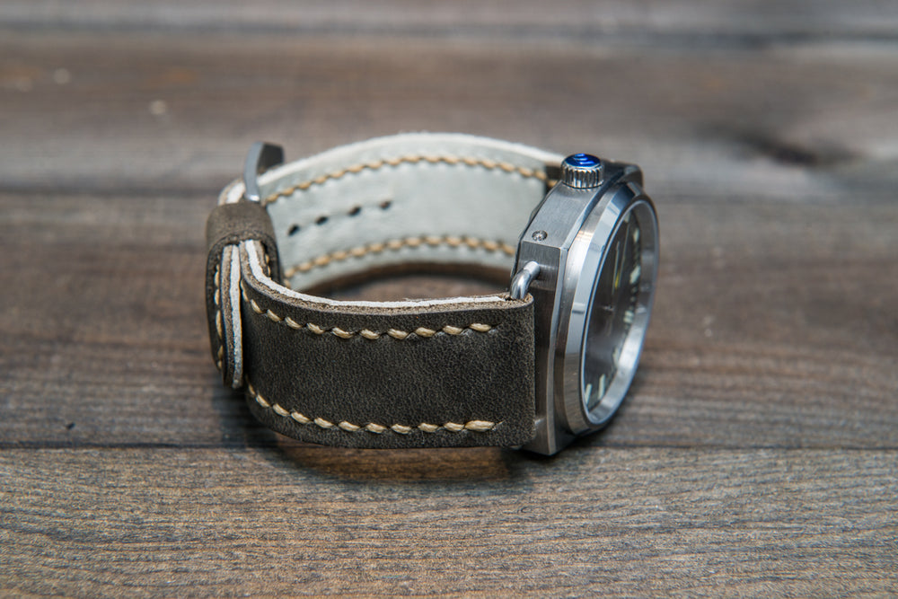 Military grey leather watch strap, hand stitched,  handmade in Finland - 18mm, 19 mm, 20mm, 21 mm, 22mm, 23 mm, 24mm, 25 mm, 26 mm. - finwatchstraps