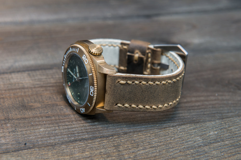 Olive military leather watch strap, hand stitched,  handmade in Finland - 18mm, 19 mm, 20mm, 21 mm, 22mm, 23 mm, 24mm, 25 mm, 26 mm.