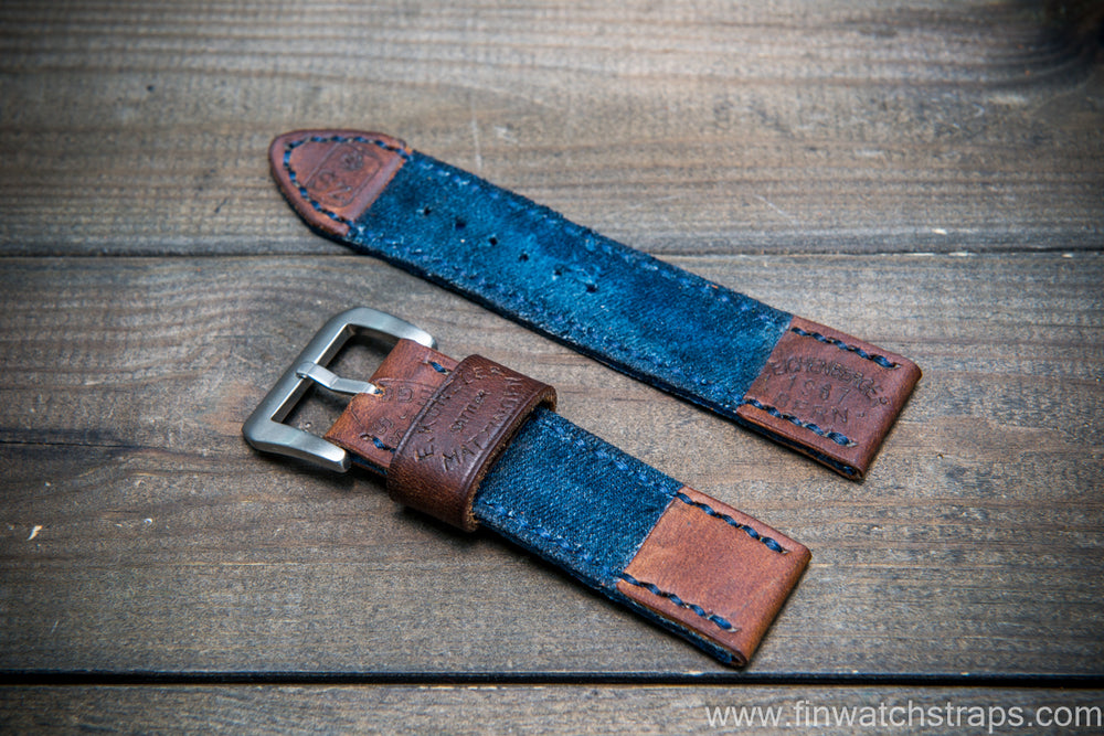 Vintage  denim ammo watch band - finwatchstraps