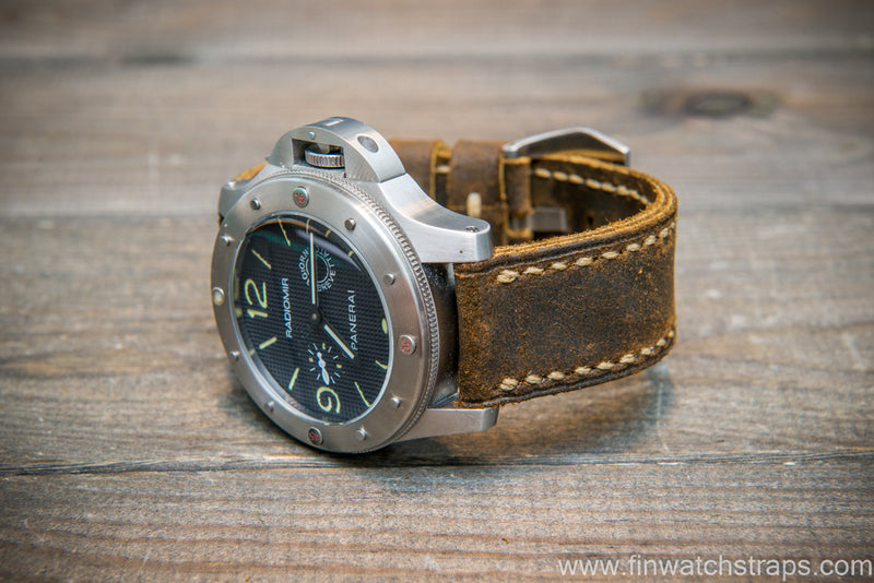 Panerai watch strap, suede Chase Waxy Commander - finwatchstraps