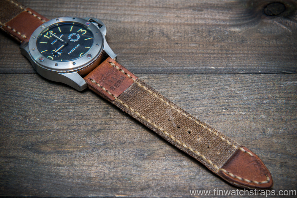 Vintage  Canvas ammo watch band, thickness 3 mm, made of USSA Kalashnikov army canvas pouches,  dates back to 1960th-1980th - finwatchstraps