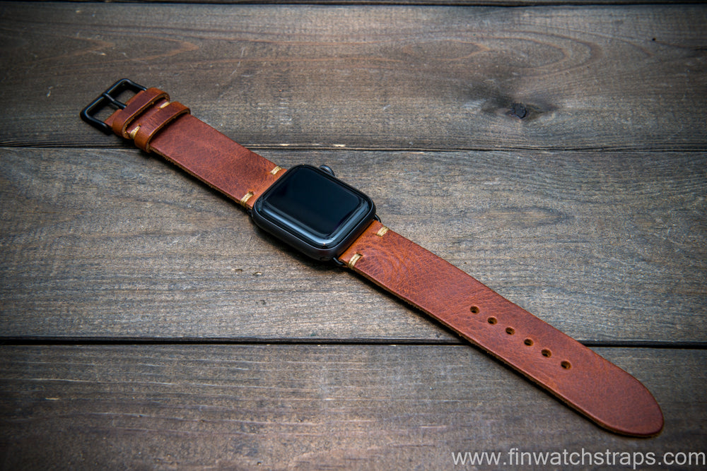 Apple Watch 3,4,5 artisan leather watch band. Badalassi Wax Italian leather.