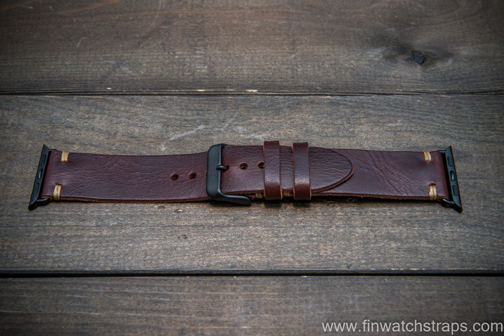 Apple Watch 3,4,5 artisan leather watch band. Badalassi Wax Italian leather. - finwatchstraps