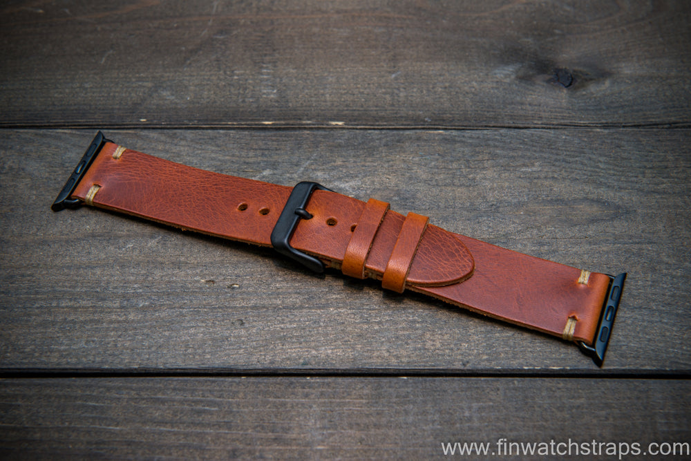 Apple Watch 3,4,5,6 artisan leather watch band. Badalassi Wax Italian leather.