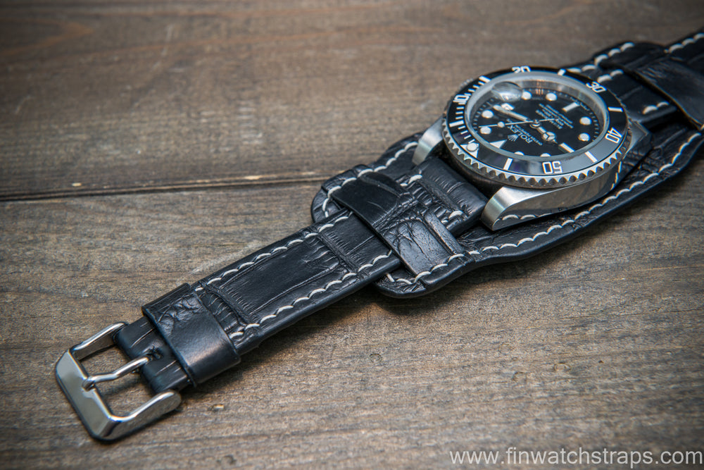 Bund-style Leather Watch Strap, Aviator model, Black alligator (Italy)
