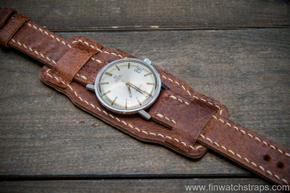 Bund-style Leather Watch Strap, Aviator model, Reindeer, Finland
