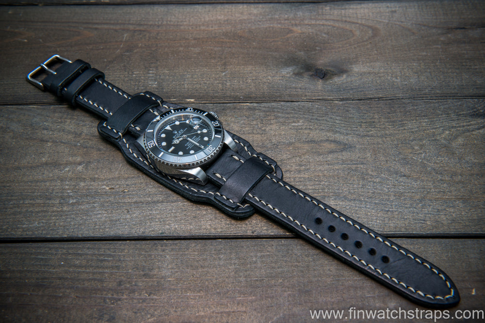 Bund-style Leather Watch Strap, Aviator model,  Black Badalassi, Italy