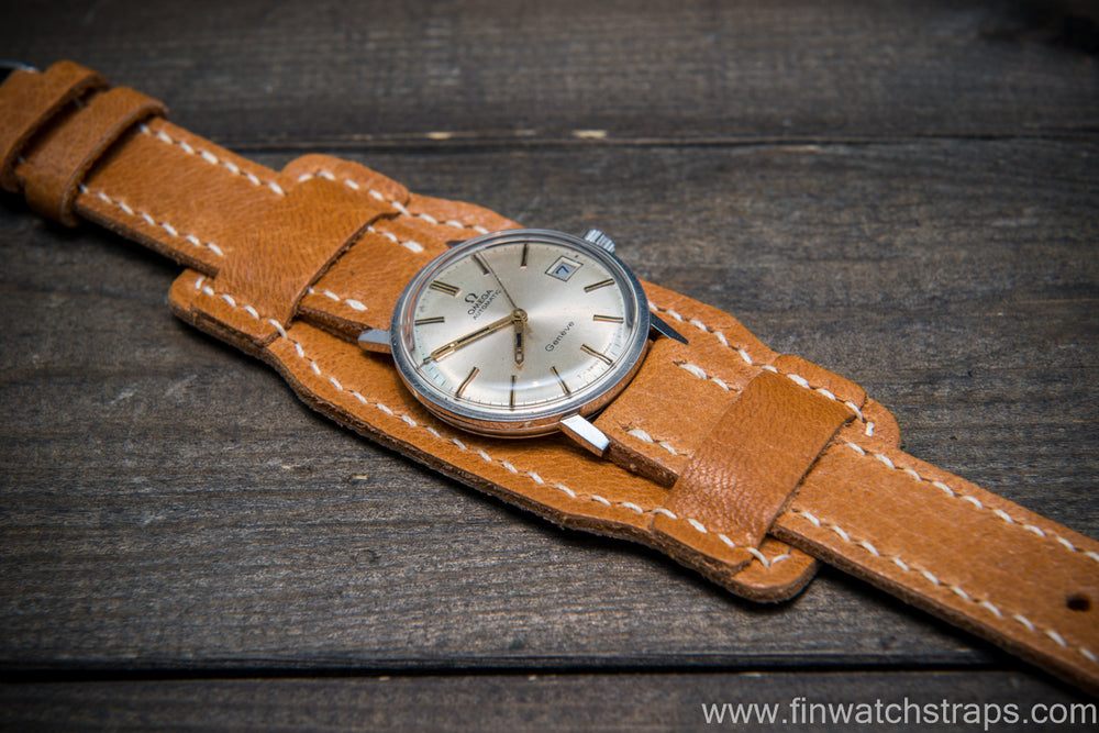 Bund-style Leather Watch Strap, Aviator model, Reindeer, Norway