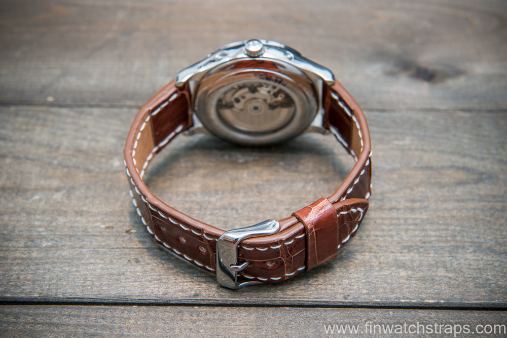 Alligator watch strap, Glazed Whiskey, handmade in Finland