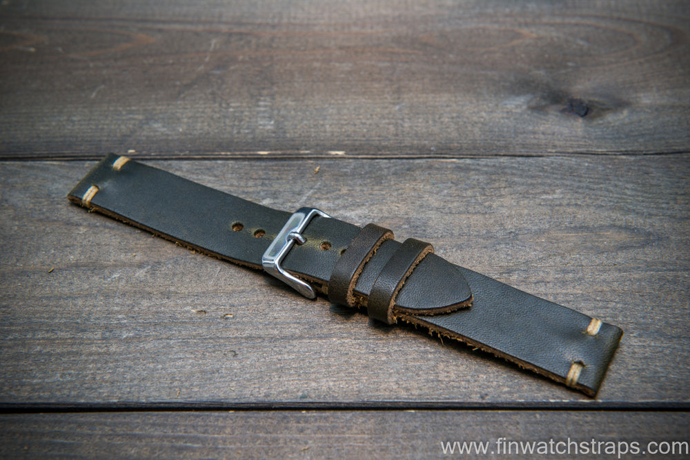 Horween Dublin Olive leather watch strap, handmade in Finland