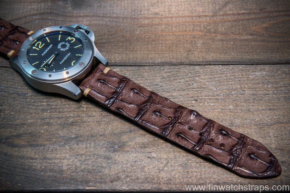 Alligator hornback watch strap, handmade in Finland