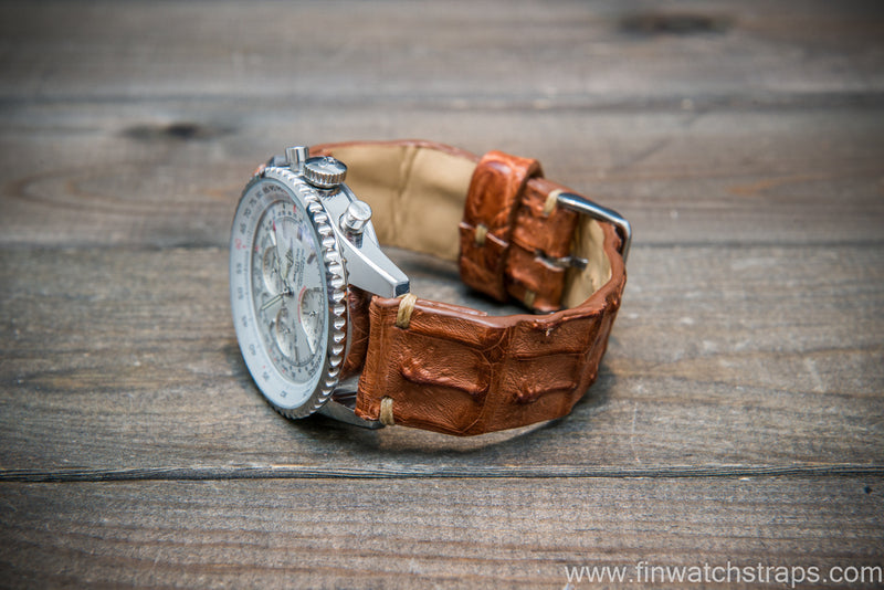 Alligator hornback watch strap, Vintage Cognac,  handmade in Finland