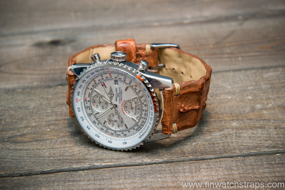 Alligator hornback watch strap. Handmade in Finland.